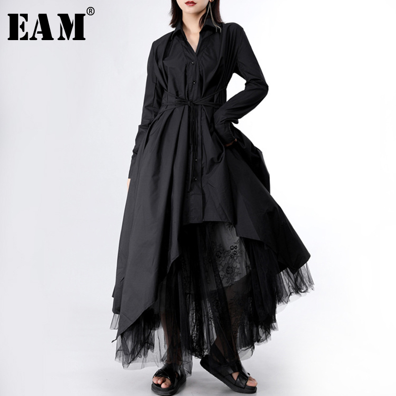 [EAM] 2019 New Spring Autumn Lapel Long Sleeve Button Bandage Stitch Pleated Irregular Shirt Dress Women Fashion Tide JY778