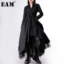 [EAM] 2020 New Spring Autumn Lapel Long Sleeve Button Bandage Stitch Pleated Irregular Shirt Dress Women Fashion Tide JY778