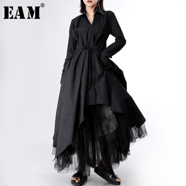 [EAM] فستان جديد لربيع وخريف 2020 بأزرار وأكمام طويلة ومزين بطيات وتصميم غير منتظم فستان نسائي على الموضة JY778