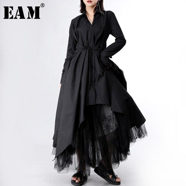 [Eem] 2020 yeni bahar sonbahar yaka uzun kollu düğme bandaj dikiş pileli düzensiz gömlek elbise kadın moda gelgit JY778