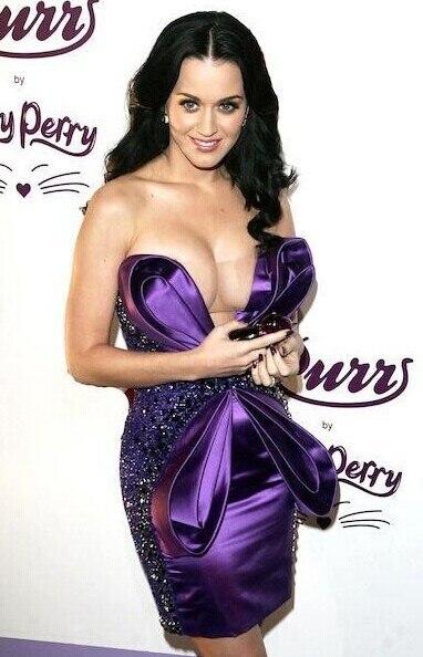 Amazing Katy Perry Pruple V Neck Off Shoulder Mini Length -5877