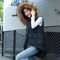 Women Winter Vest Waistcoat 2016 Womens Long Vest Sleeveless Jacket Faux Fur Collar Hooded Down Cotton Warm Vest Female 0806-67E