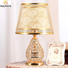 Nordic Crystal Table Lamp Bedroom Bedside Lamps Table Fabric Lampshade Home Decor Luminaria American Wedding Lamp Fixtures