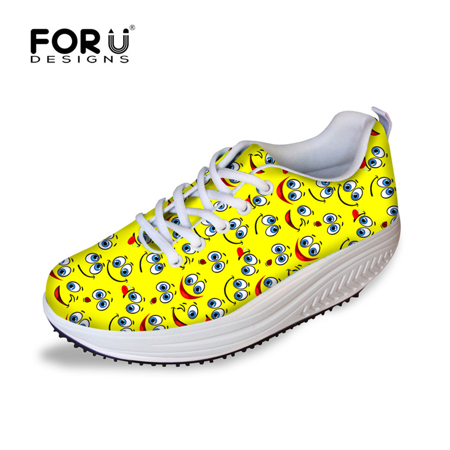 ФОТО FORUDESIGNS Cute Smiley Face Pattern Women Swing Platform Shoes Fashion Breathable Lace-up Height Increasing Flats Slimming Shoe