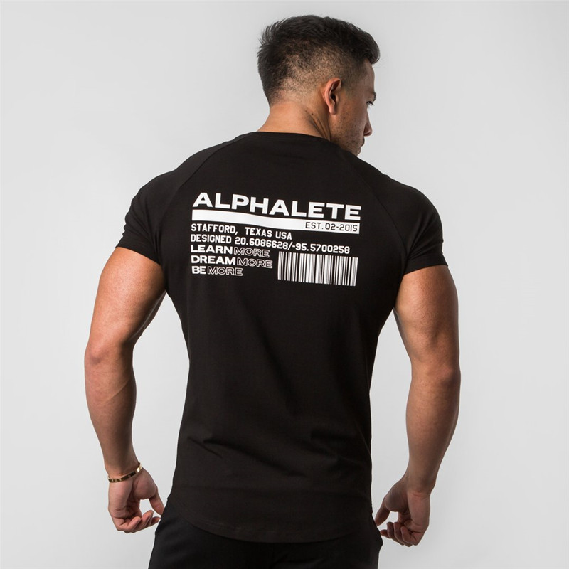 New ALPHALETE Summer Fashion Mens Short Sleeve T-Shirts Bodybuilding and Fitness Mens Gyms Clothing Workout Cotton T-Shirt Men