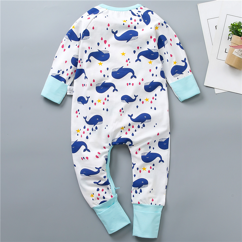 VERATI Whale Print Spring Summer Autumn Cotton Khaki Baby Onesie Baby Clothing Jumpsuit Newborn Baby Long Sleeve Romper V042