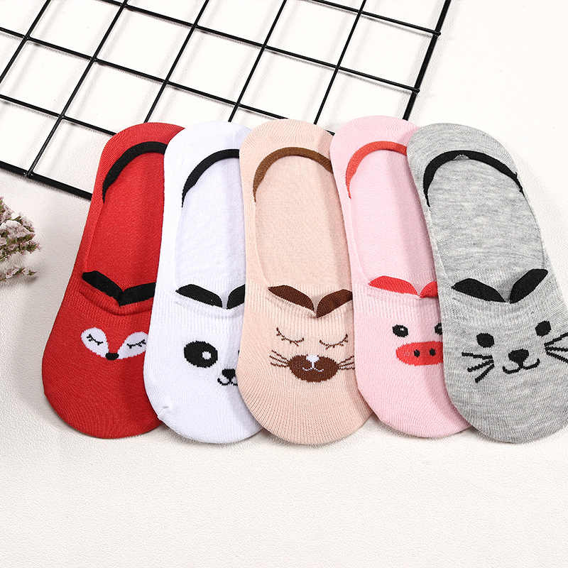 5 Paare/los Sommer Baumwolle Ankle Socken Für Korea frauen Cartoon Tier Katze Panda Schwein Kurze Socken Weibliche Sokken Hausschuhe meias
