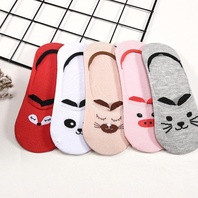 5 Pairs/lot Summer Cotton Ankle Socks For Korea Women's Cartoon Animal Cat Panda Pig Short Socks Female Sokken Slippers Meias