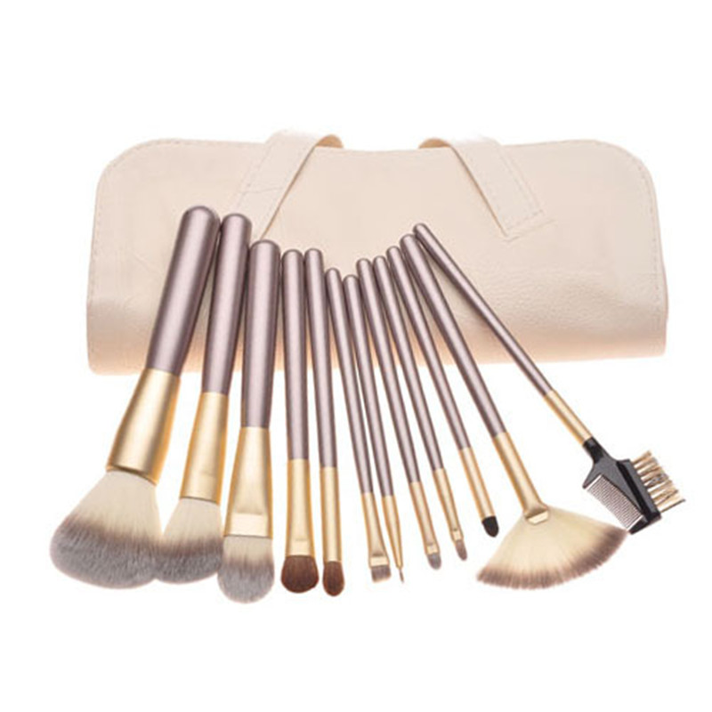12 pcs Set Makeup Brush Set Professional Synthetic Makeup Brushes Foundation Powder Blush Eyeliner Brushes