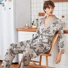 Летний мужской пижамный комплект, халат и штаны и шорты, одежда для сна, атласная мужская повседневная домашняя одежда с принтом, костюм для сна, кимоно, халат, L, XL, XXL