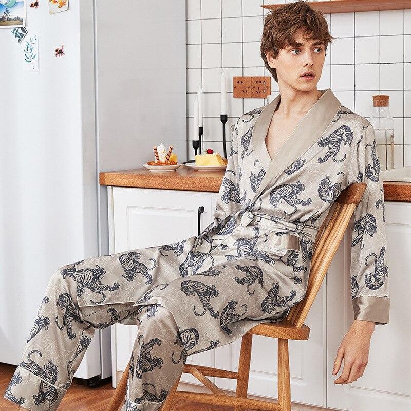 Summer Men Pajamas Set Robe&Pant&Shorts Sleepwear Satin Print Male Casual Home Clothes Sleep Suit Kimono Bathrobe Gown L XL XXL