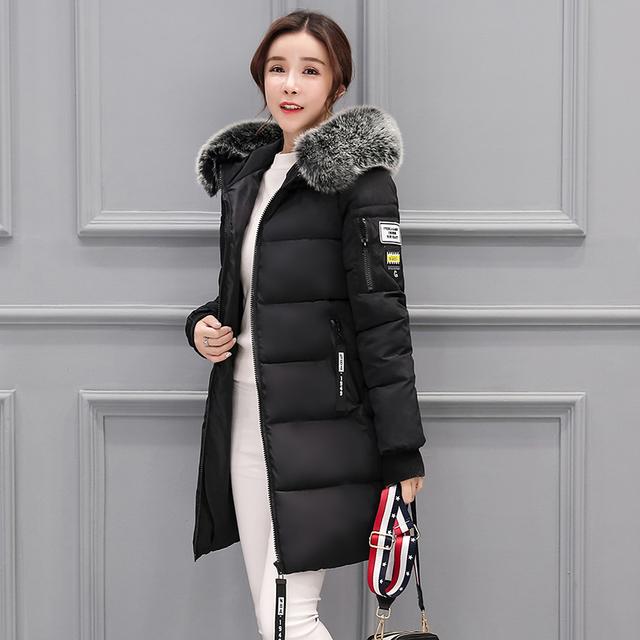 Moda 2018 jesień zima kobiety futro kołnierz długa Bluza z kapturem dół kurtki plus rozmiar długi z kapturem kaczka dół grube Parkas