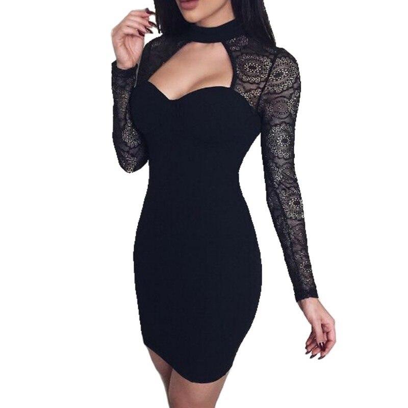 2019 Hollow Out Neck Pencil Party Dresses Back Zipper Long Sleeve Black Lace Sexy Club Dress Winter Women Elegant Bodycon