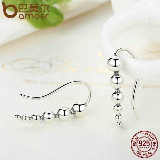 Sterling Silver Round Bean Long Drop Earrings