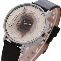 3D Face Wood Grain Dial Unisex Watch Ladies Casual Wristwatch Men Vintage Leather Band Watch Women