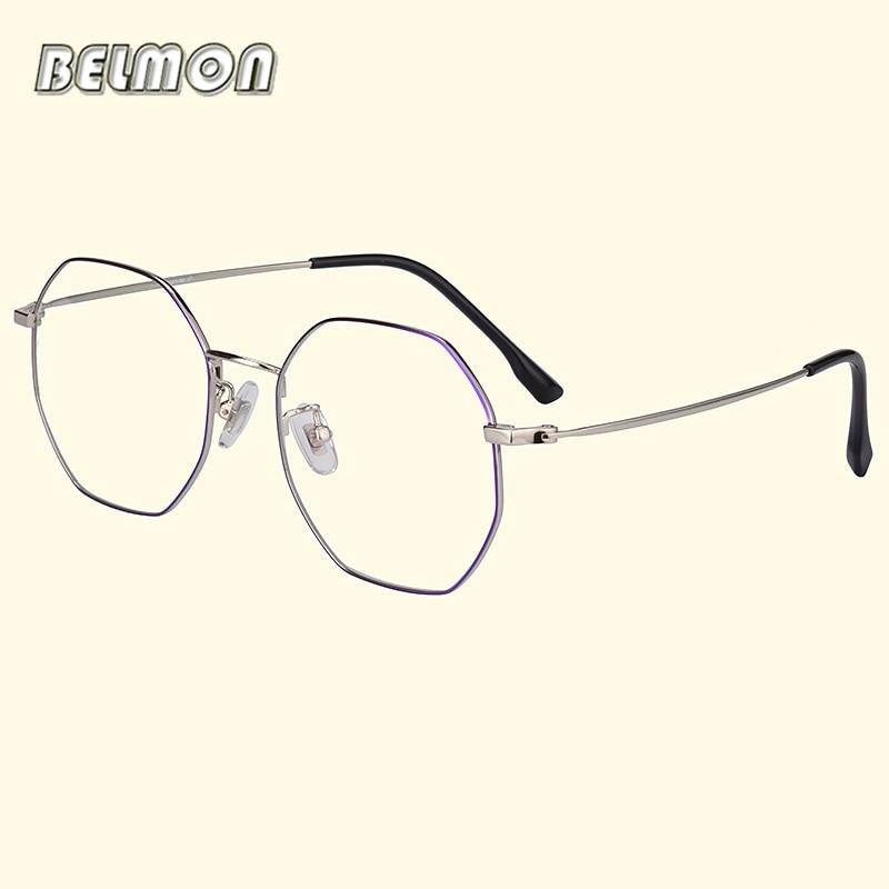 Belmon Pure Titanium Spectacle Frame Women Vintage Round Eyeglasses Computer Optical Glasses For Female Clear Lens Eyewear 8806