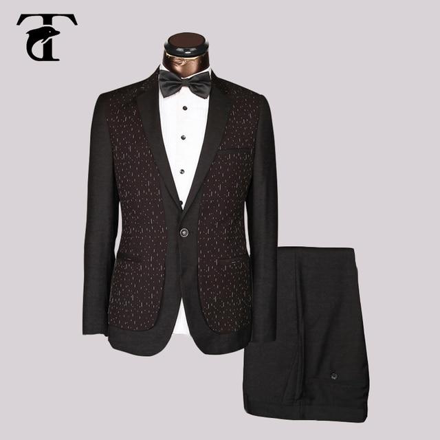 2017 design elegante blazer Preto vermelho Azul Slim Fit homens Terno Do Casamento Do Smoking Do Noivo Elegante welt bolso Masculino jaqueta calça