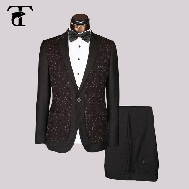 2017 design fashionable blazer Blue Black red Slim Fit Wedding men Suit Elegant Groom Tuxedo welt pocket Masculine jacket pant