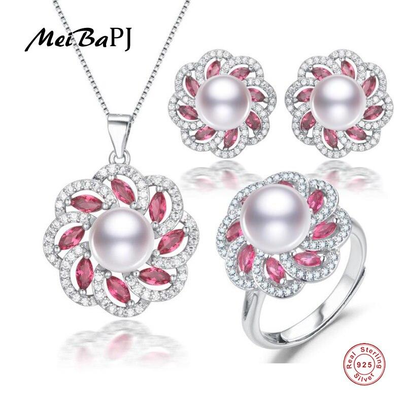 e0c4413ba0f5 MeiBaPJ Real 925 ezüst piros kő nyaklánc gyűrű fülbevaló finom ...