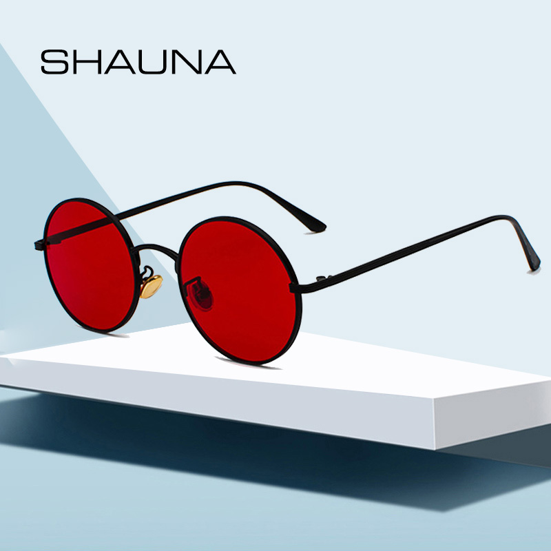 SHAUNA Super Round Women Sunglasses Brand Designer Fashion Men Dark Green Lens Shades UV400