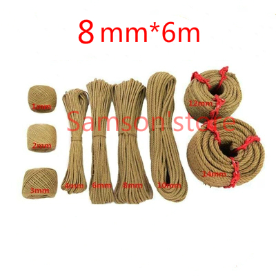 8mm*6m Natural Jute String Hemp Twine Rope Gift Packing Hang Tag Cord For Handmade Accessory DIY Decoration