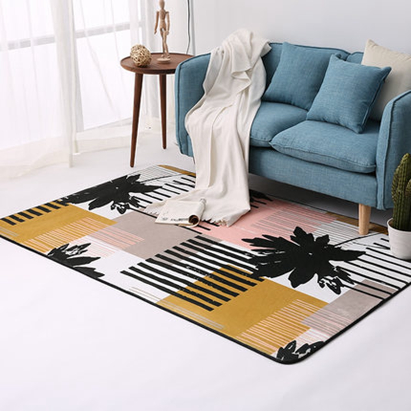 Simple moderne géométrique maison tapis Style nordique salon tapis chambre lit plein doux Polyester tapis rectangulaire doux Floormat