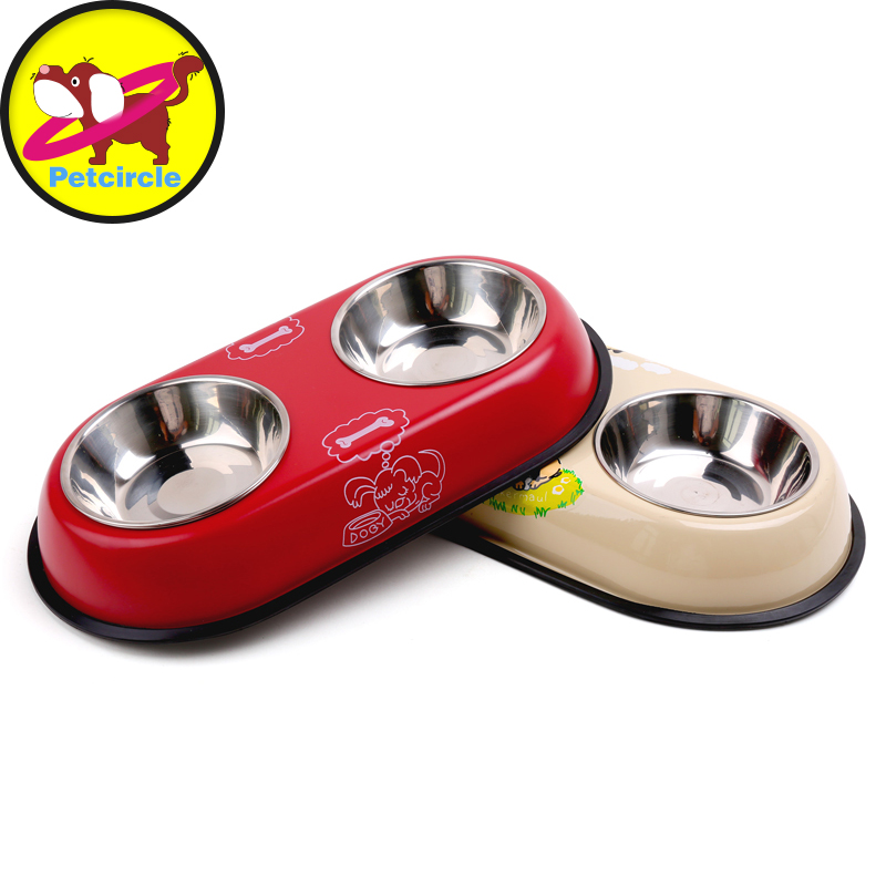 High-quality dog bowl with stainless steel and the thickening dog bowls pet dog cat feeders Prevent slippery freeshipping
