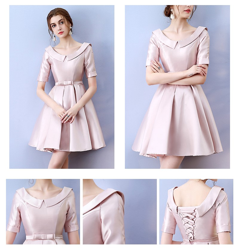 Legant Sexy Bridesmaid Dress Above Knee Mini Dress  Empire Back Of Bandage Red Bean Pink Colour Wedding Guest Dress