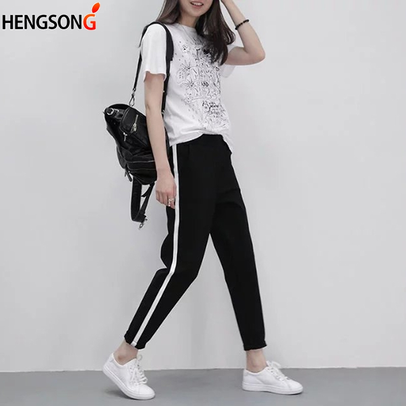 Hengsong 2018 Autumn Women Casual Harem Pants Pencil Trousers For Women Black Side Striped Thin Ankle-Length Pants Female 743594