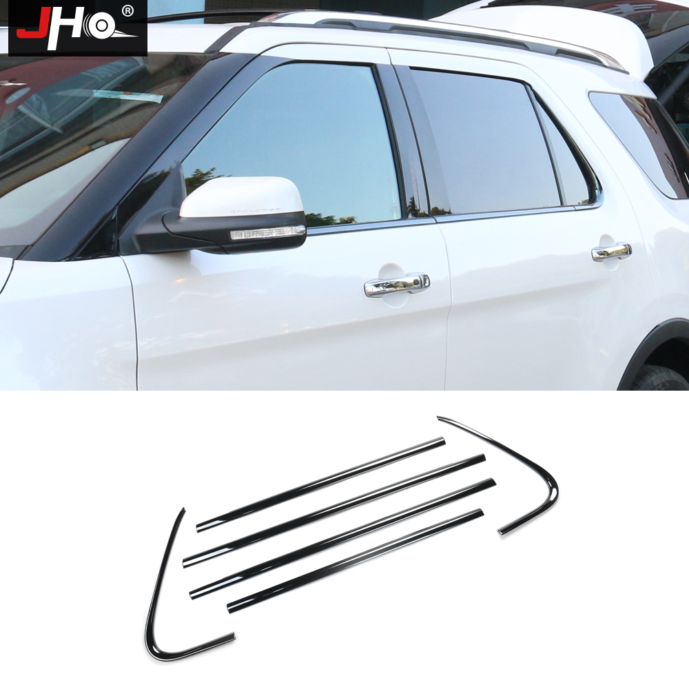 JHO Steel Bottom Window Frame Sill Cover Trim For Ford Explorer 2013 2018 14 15 16 17 Exterior Car Styling Accessories Decors