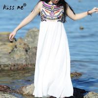 Women Summer Dress Sleeveless O Neck Female Robe Print Geometric Patchwork White Long Dress Bohemian Style
