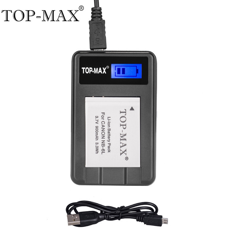 TOP-MAX NB-6L NB-6LH Digital Camera Battery USB Charger+Cable For CANON SX240 HS SX260 HS SX500 IS SX275HS S90 S95 SD1200 IS ac battery charger cradle for canon nb5l digital camera