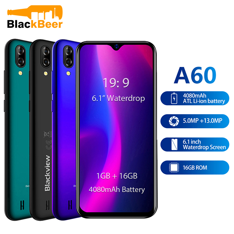 Original Blackview A60 3G Smartphone 19:9 6.1 inch Android Cellphone 4080mAh Battery 1GB 16GB ROM Mobile Phone 13MP+5MP Dual SIM image