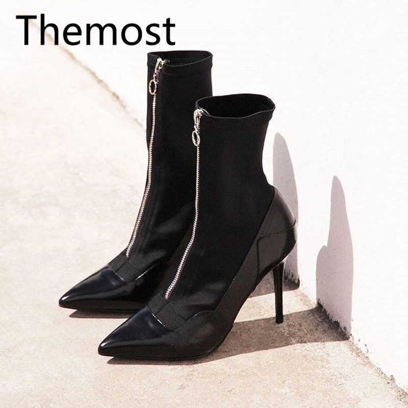 2017 European and American real leather high and pointy short ladies street fashion classic women's shoes