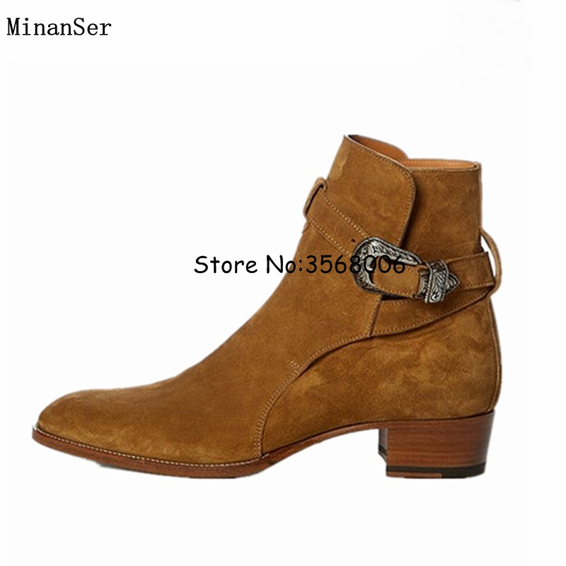 Hot Sale Buckle Strap Slip on Men Chelsea Boots Brown Black Original Suede Leather Man Ankle