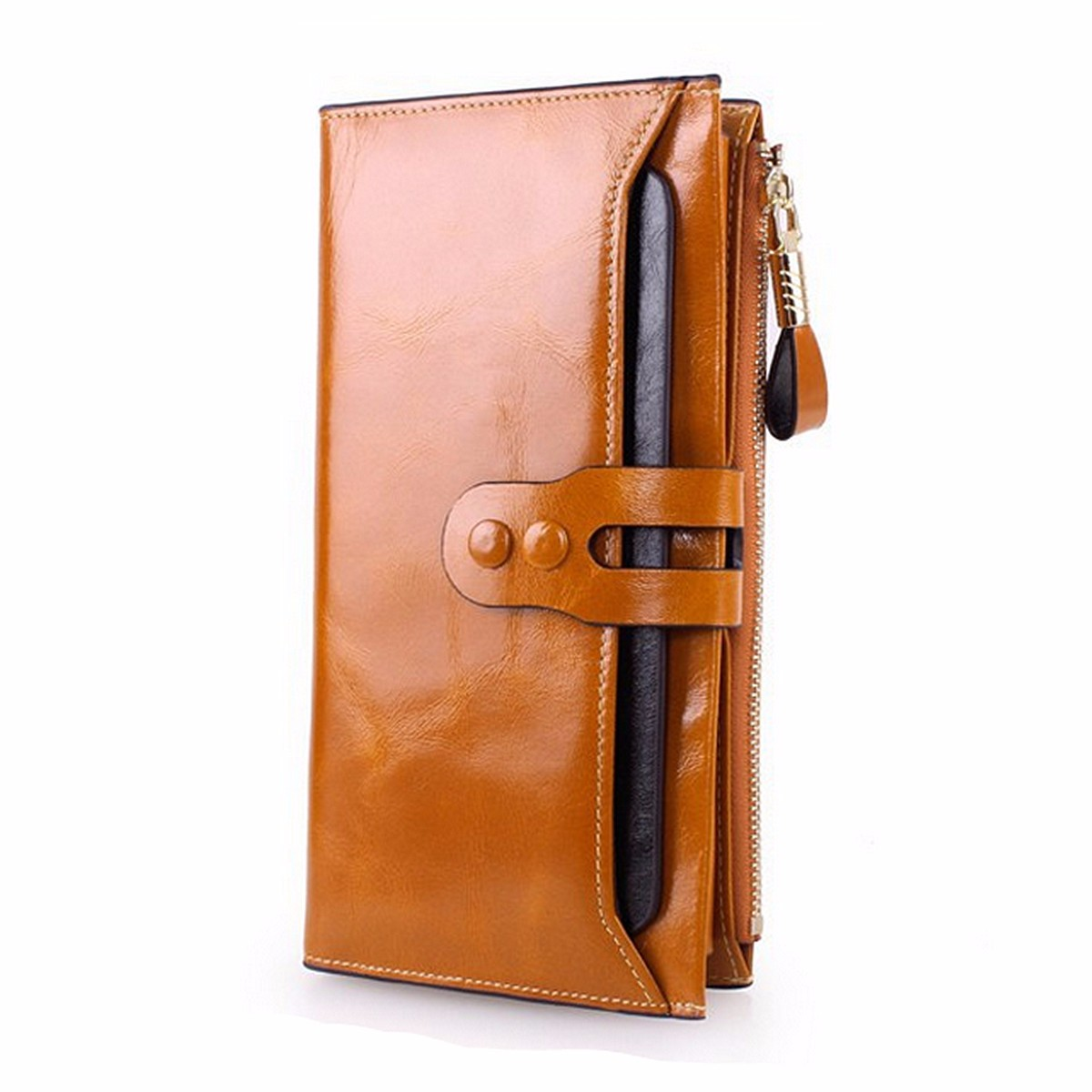 feminina carteiras de couro original Wallet Estilo 2 : Cowhide Leather Women Wallets Zipper Coin Purses