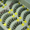 Fibra Longa Seção grosso Cílios Falsos Cruz Terrier Transparente Cílios Falsos Maquiagem Natural Cílios Postiços 1 caixa de 10 pares