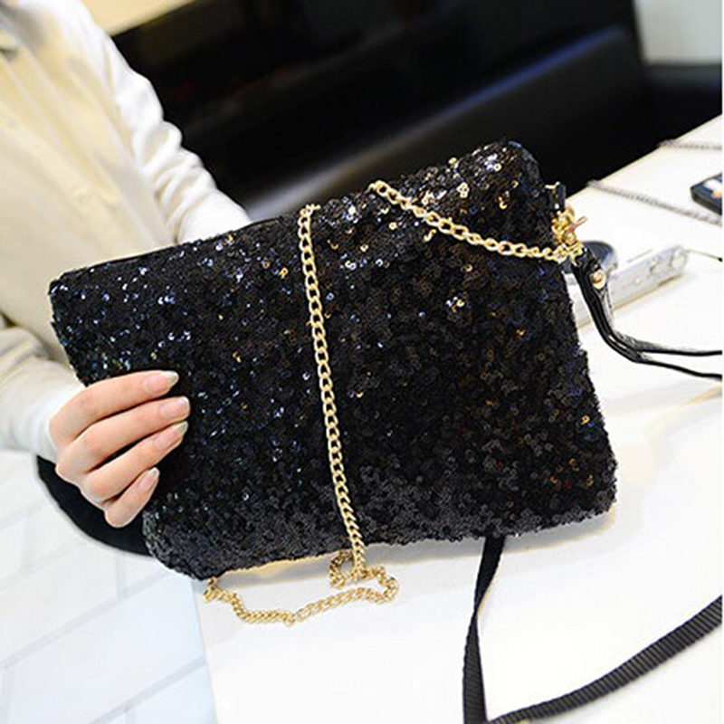 Women Glitter Sequin Handbag Shoulder Luxury Sparkling Party Evening Envelope Clutch Bag Wallet Ladies Tote Purse Crossbody Bag