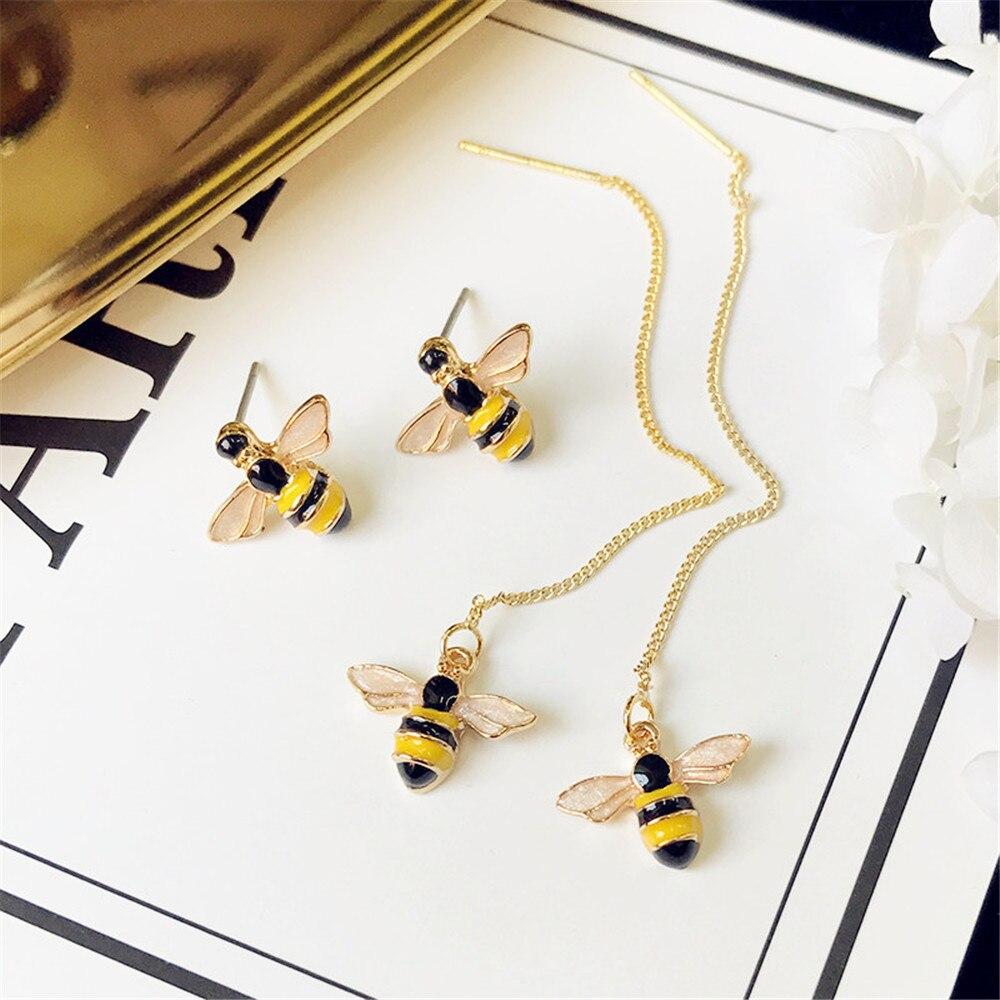 2019 New Brand Cute Honey Bee Earring Yellow Enamel Tiny Animal Ear Stud For Women Girls Korea Style Jewelry Accessories