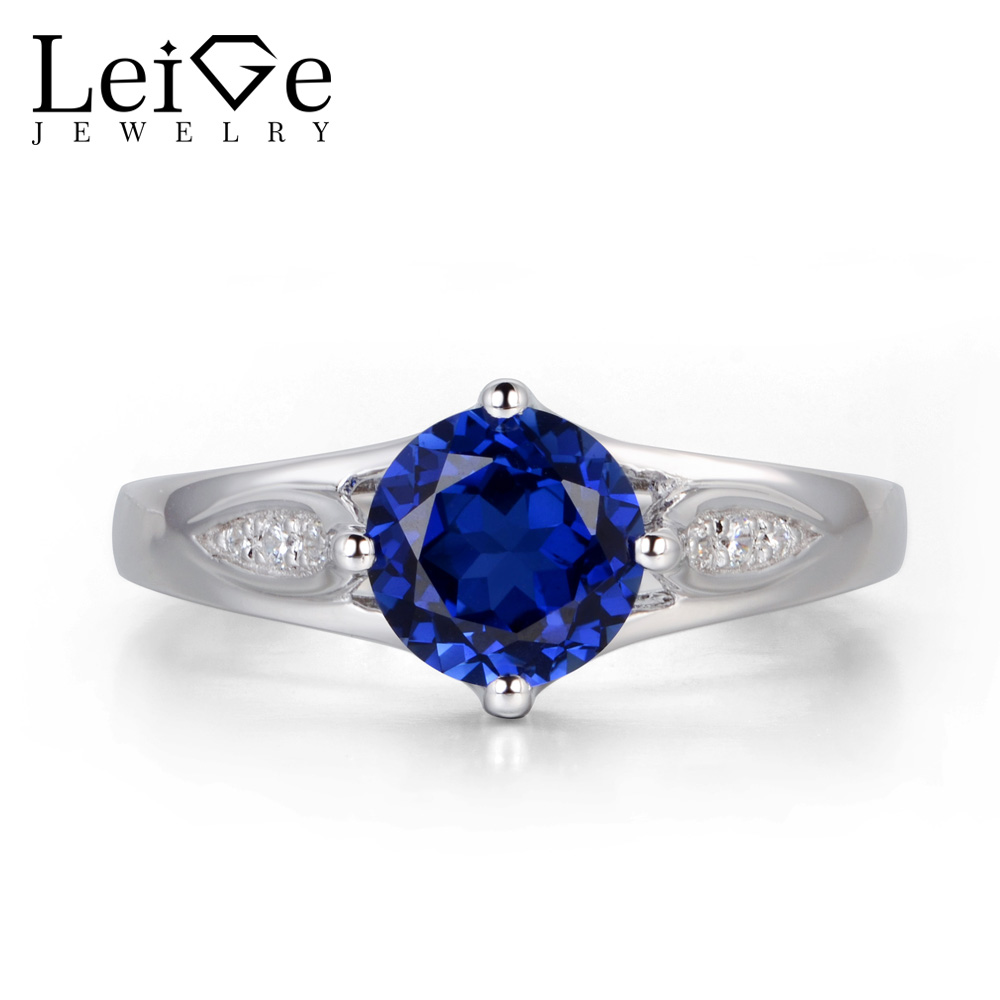 Leige Jewelry Round Cut Blue Sapphire Engagement Ring for Women Sterling Silver 925 Fine Jewelry Wedding Rings Blue Gemstone leige jewelry blue sapphire ring oval shaped wedding engagement rings for women sterling silver 925 jewelry blue gemstone