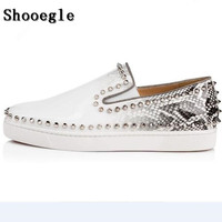 07704cfe6 SHOOEGLE Newest White Rivets Printing Snakeskin Men Loafers Shoes Slip On  Spikes Men S Flat Shoes