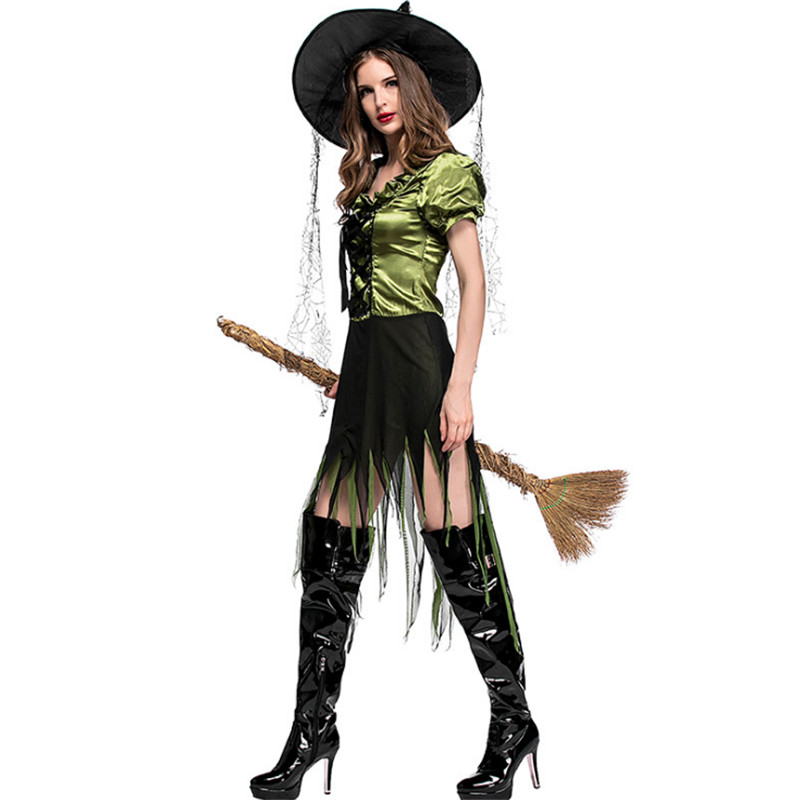 Plus size M L XL green black witch Slim dress Halloween irregular cutting Adult Broomstick Cosplay Halloween Costumes for women