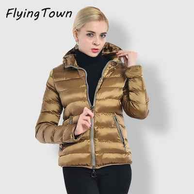 FlyingTown 2017 winter fashion women parkas short coat with hood Plus size 3XL female casual jacket high quality lady work wear