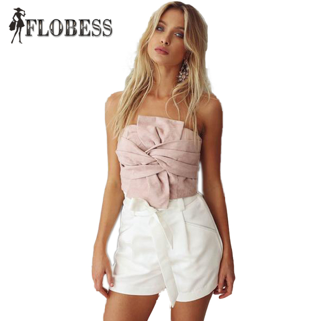 FLOBESS 2017 Mulheres de Veludo Cruz Bandage Sexy Short Plissado Tops Das Senhoras Strapless Apertado Mulheres Camis sexy Atacado doce bonito Topo