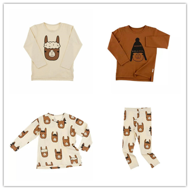 0-5 Years Boys T-shirt Kids Tees Baby Girl Brand T Shirts Children Tees Long Sleeve Tiny Cotton Cute Alpaca Printing Sets high quality branded boys t shirts children clothing baby t shirt kids clothes long sleeve striped cotton baby boy t shirt