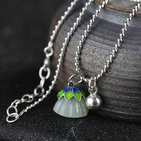 Original Handmade 925 Sterling Silver HETIAN Jade Pendant Necklace Lotus Pendant Necklace Jewelry Wedding Necklace Accessories