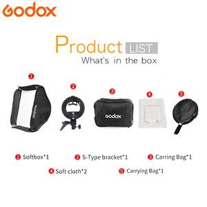 Image 2 - Godox 80*80 см софтбокс складной 80x80 Вспышка складной + S образный кронштейн держатель Bowens + сумка комплект для фотостудии вспышка Speedlites