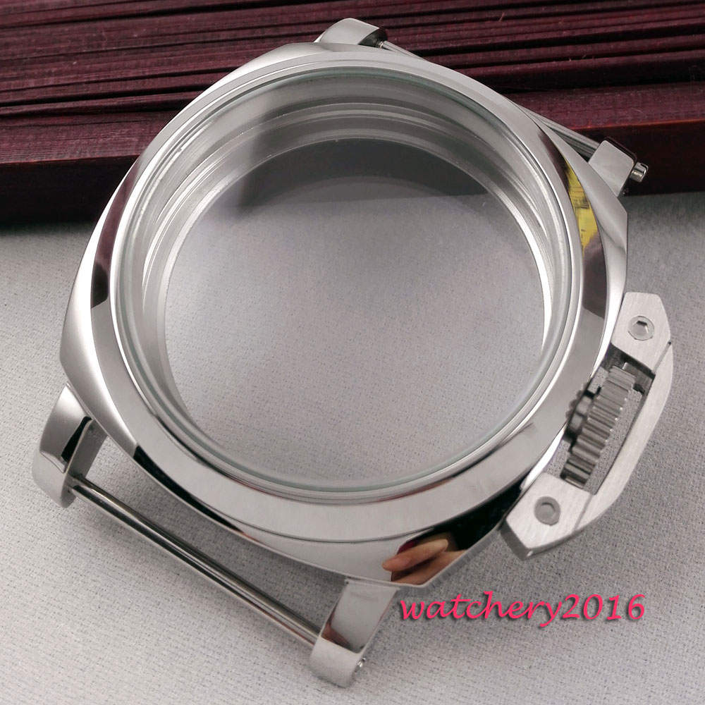 Newest Hot High quality 44mm stainless steel polished case hardened mineral glass fit 6497 6498 ST36 Molnija movement Watch Case 46mm matte silver gray stainless steel watch case fit 6498 6497 movement watch part case with mineral crystal glass
