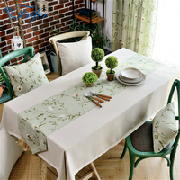 Europe Tablecloth 100% Cotton Linen Wedding Table Cloths Dining Room Table Covering with Floral Table Cloth Runner for Home