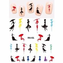 Arte do prego beleza água adesivo decalque slider uni cor moda mostrar menina abstrato senhora dançarina ballet RA061 066